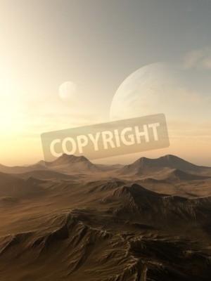 Картина Научная фантастика иллюстрация планет поднимается над горизонтом пустынной чужой мир, 3D цифровой оказанные иллюстрации