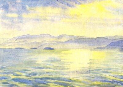Картина Море и горы. Пейзаж. Акварельная живопись
