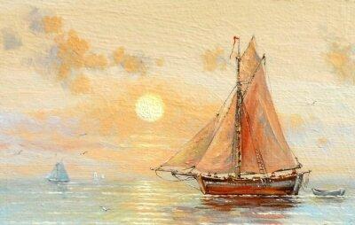 Картина Море, лодки, рыбак, картины маслом