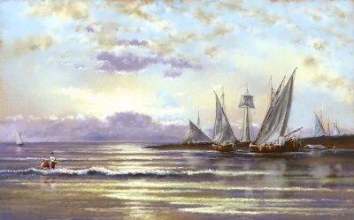 Картина Морской пейзаж, рыбак, масляные цифровые картины