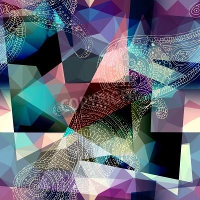 Картина Бесшовные фон. Имитация кубизм стиль живописи.