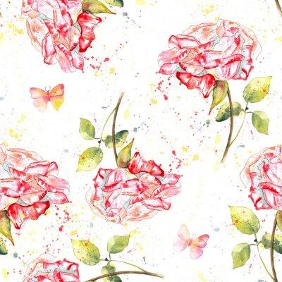 Картина Бесшовные фон с розами акварель, брызги и бабочек