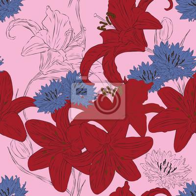 бесшовный фон с яркими цветами лилии и васильки