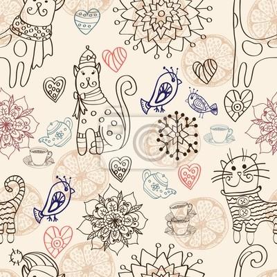 Бесшовные фон с кошками и цветами