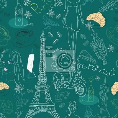 Бесшовные фон с разными каракули элементов Париж