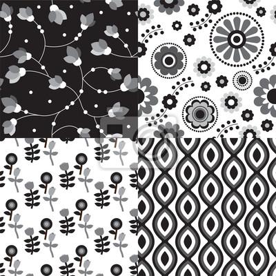 Бесшовные черный белый ретро цветочным узором фон