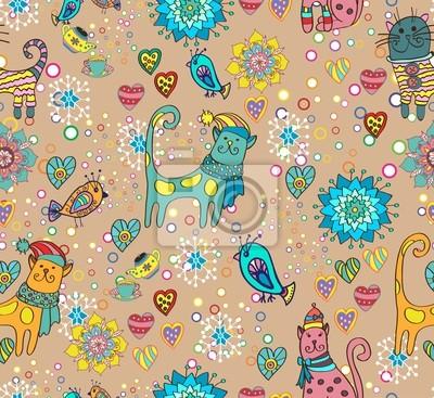 Бесшовные яркий фон с кошками, цветами и сердцами
