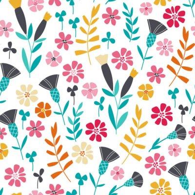 Картина Бесшовные яркий цветочный узор скандинавское