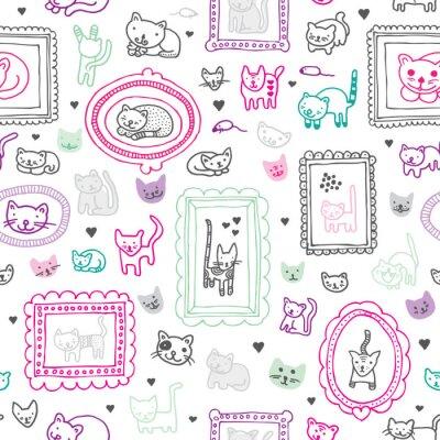 Бесшовные кошка котенок фон орнамент дети шаблон в векторе