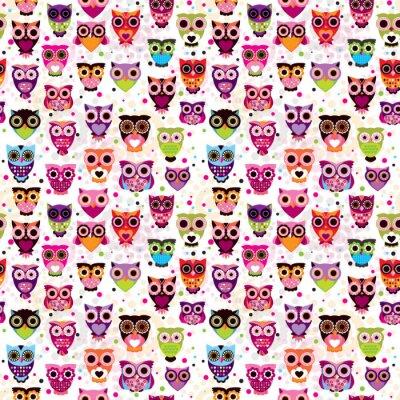 Бесшовные разноцветные сова рисунок для детей в вектор