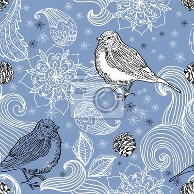 Бесшовные каракули фон птица и цветочных элементов