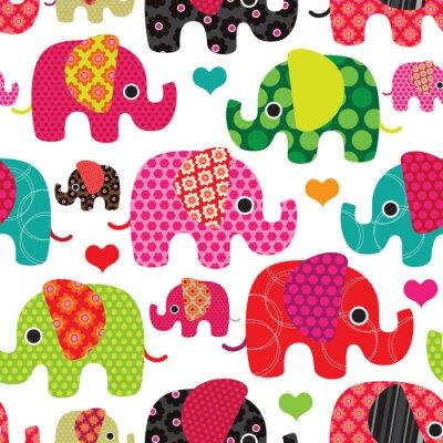 Бесшовные слон дети шаблон фон в векторе