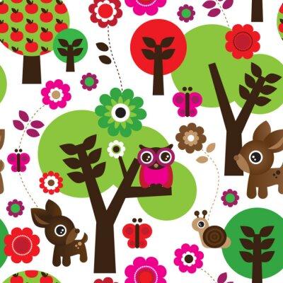 Картина Бесшовные фермы сова дерево животное рисунок в векторе