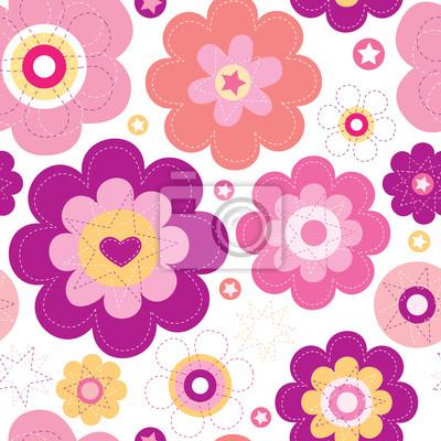 Бесшовные цветок розовый ретро фон в векторе