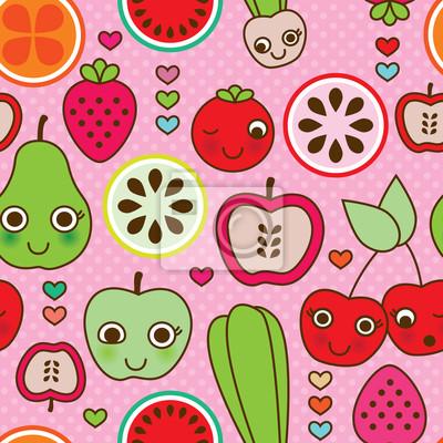 Бесшовные фрукты кухня узором в векторе