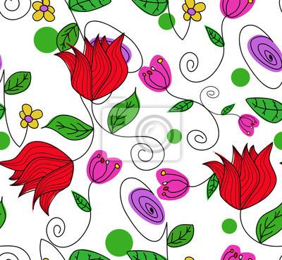 Картина Бесшовные рисованной каракули цветочный узор.