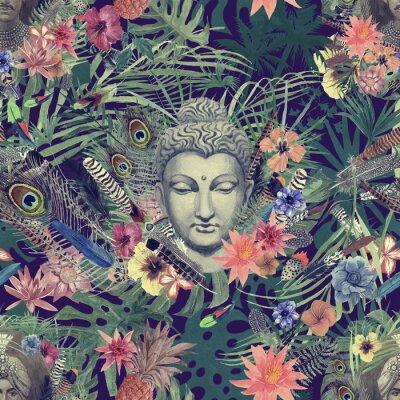 Картина Бесшовный рисованный акварельный рисунок с головой Будды, махараджами, цветами, перьями, пальмами.