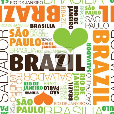 Бесшовные Я люблю Бразилия Город текст фонового рисунка в вектор