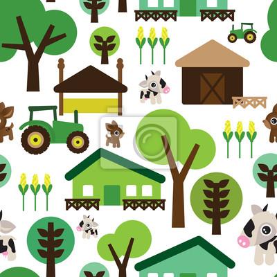 Бесшовные дети ферма фон