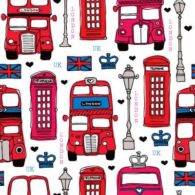Бесшовные любовь Лондон Великобритания красный путешествия икона фон
