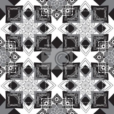 Бесшовные монохромный геометрический узор с восточным декором.