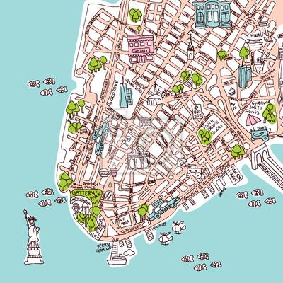 Бесшовные Нью-Йорка Манхэттена туристической карты иллюстрации