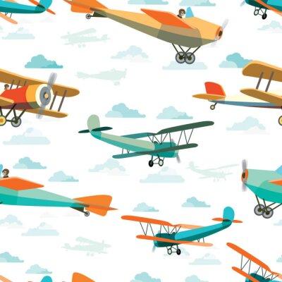 Картина Бесшовные из ретро-самолеты