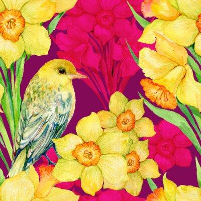 Картина бесшовные модели .Illustration акварель, цветы, полевые цветы, нарцисс и птица иволга