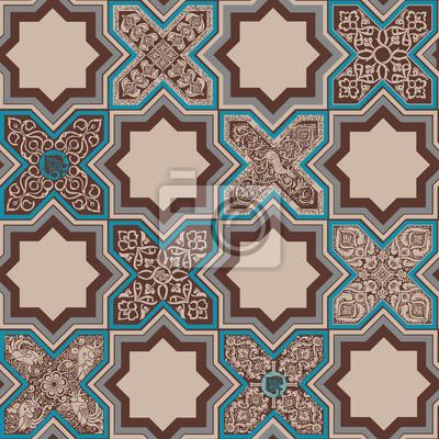 Безшовная картина в стиле плитки с персидским орнаментом.