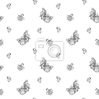 Бесшовные картины с птицами. Черно-белый фон с лебедями в стиле восточных mehndi.