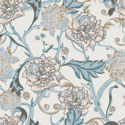 Картина Бесшовные узор с цветущими пионами