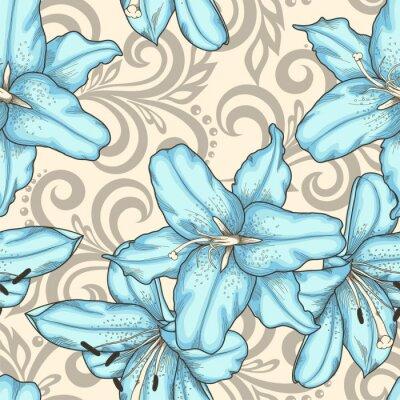 Картина бесшовные модели с синими цветами и лилиями абстрактные цветочные завихрения