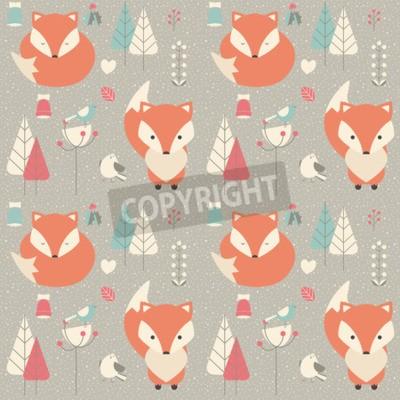 Картина Бесшовные шаблон с милой рождественские baby лиса, окруженный цветочные украшения, векторные иллюстрации