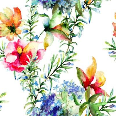 Картина Бесшовные с декоративными летних цветов