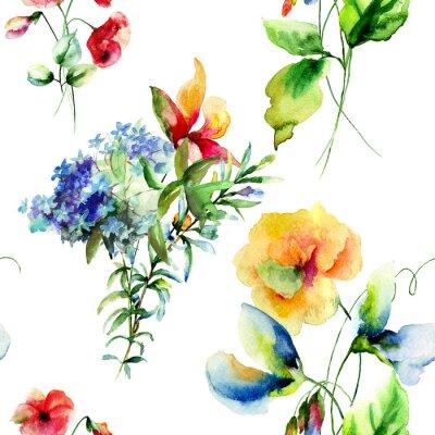 Картина Бесшовные шаблон с цветами Декоративные летних