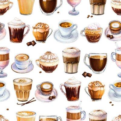 Картина Бесшовный фон с различными кофейными напитками на белом фоне. Иллюстрация эспрессо, латте и американо, капучино и другие вкусные кофе. Рисованной маркерами, акварель.