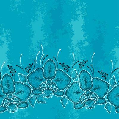 Картина Бесшовные с пунктирным моли Орхидея или фаленопсис и листьев на бирюзовом фоне текстурированной. Цветочный фон в стиле dotwork.