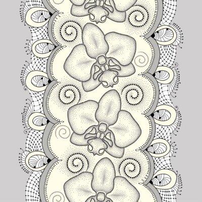 Картина Бесшовные с пунктирным моли Орхидея или фаленопсис, завихрения и декоративные кружева на светло-желтом фоне. Цветочный фон в стиле dotwork.