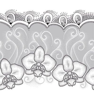 Картина Бесшовные с пунктирным моли Орхидея фаленопсис или, белые сучки и декоративные кружева на сером фоне. Цветочный фон в стиле dotwork.