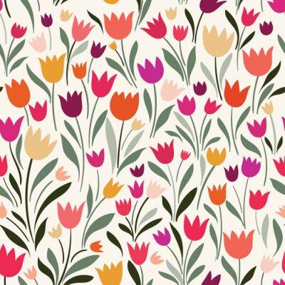 Картина Бесшовный фон с ручными тюльпанами