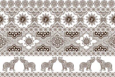 бесшовный узор с индийскими орнаментами