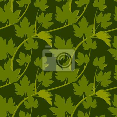 Бесшовные узор с листьями и лозы