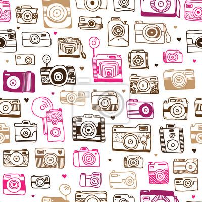 Бесшовные фотоаппарат каракули в вектор