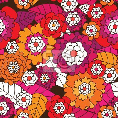 Бесшовные ретро цветочный узор фона в векторе