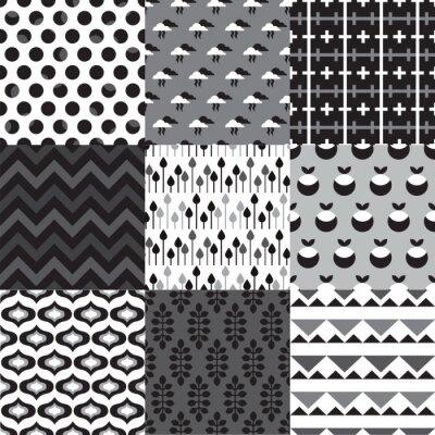 Бесшовные набор черный белый ретро фоновые рисунки в векторе