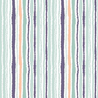 Картина Бесшовные полосы. Вертикальные линии с эффектом рваной бумаги. Shred край фона. Свет и темно-серый, оливковый, бирюзовый цвета на белом фоне. Вектор