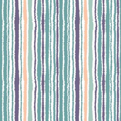 Картина Бесшовные полосатый рисунок. Вертикальные узкие линии. Рваная бумага, резаный край текстуры. Синий, белый, оранжевый мягкий цветной. Вектор