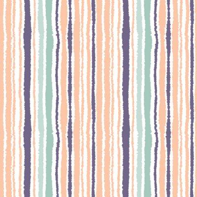 Картина Бесшовные полосатый рисунок. Вертикальные узкие линии. Рваная бумага, резаный край текстуры. Оранжевый, синий, белый свет мягкий цветной фон. Вектор