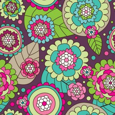 Бесшовные летом каракули цветы фон в векторе