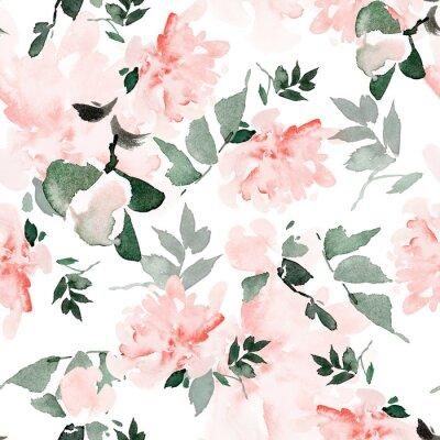 Картина Seamless summer pattern with watercolor flowers handmade.